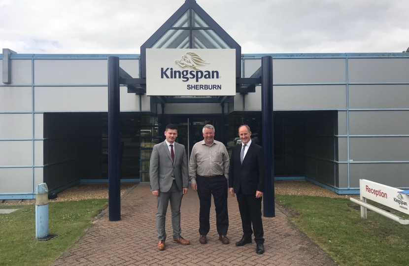 Councillor Keane Duncan (Leader, Ryedale District Council), Tom Paul (Director, Kingspan) and Kevin Hollinrake MP